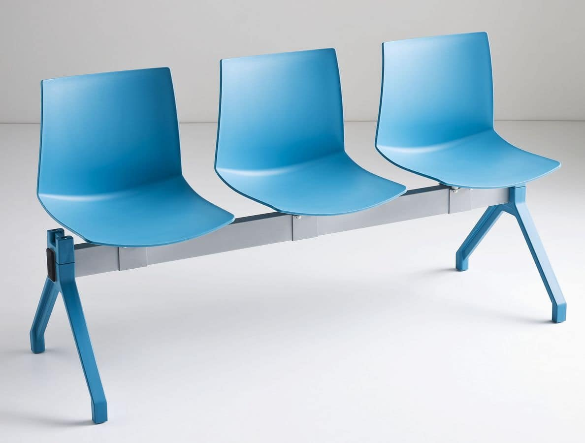 Kanvas PG, Chair on beam, polymer shell, for waiting rooms