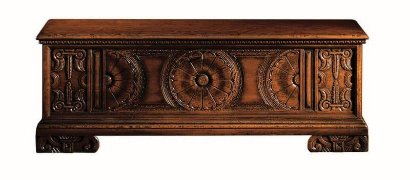 Pitigliano ME.0812, Siena chest in carved walnut, for classical villas