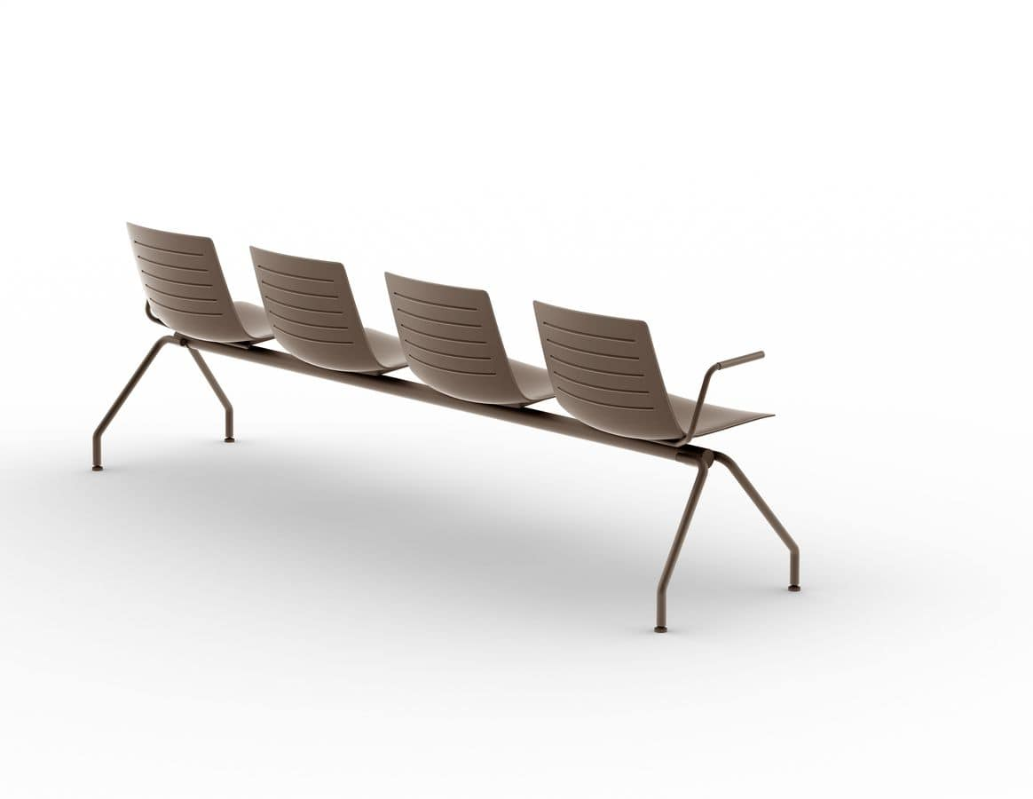 Slim 05, Plastic and metal bench for waiting areas