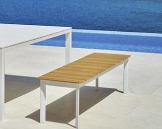 System bench, Outdoor teak bench