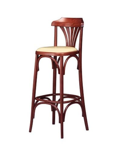 119, Retro stool, in bent wood, with padded seat