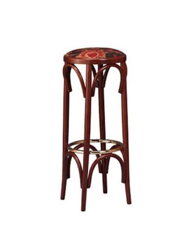 123, Wooden stool in bistro style, round seat