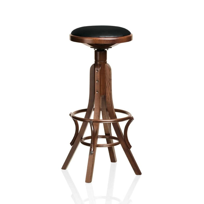 Achtung, barstool in beech curved wood, for pubs and bars
