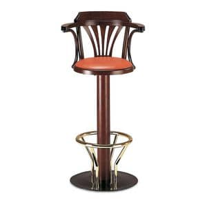 Art.180, Swivel barstool in metal and bent wood