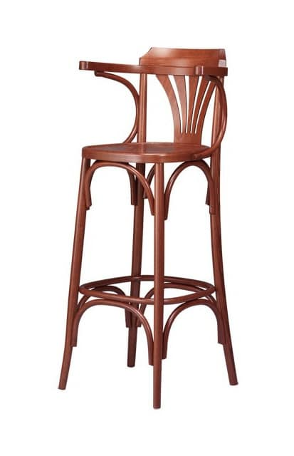 B01, Stool in curved beech wood, for bars and pubs