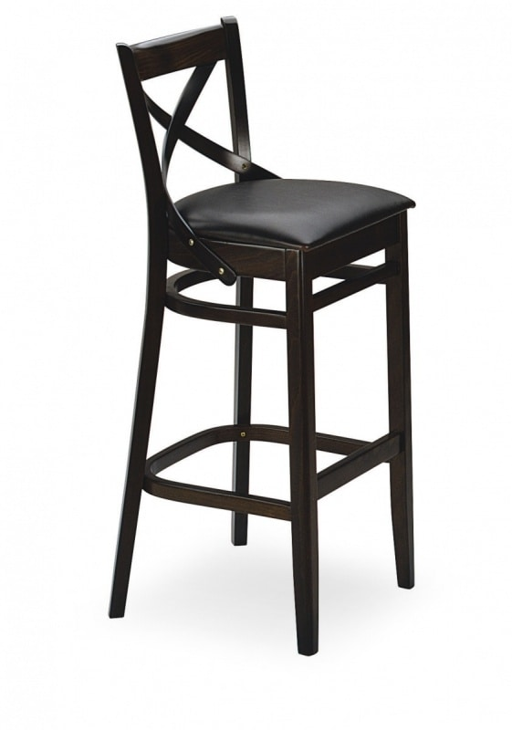 B12SG, Stool with upholstered seat, wooden frame