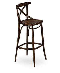 Croce SG, Barstool in solid wood, for restaurants and bars