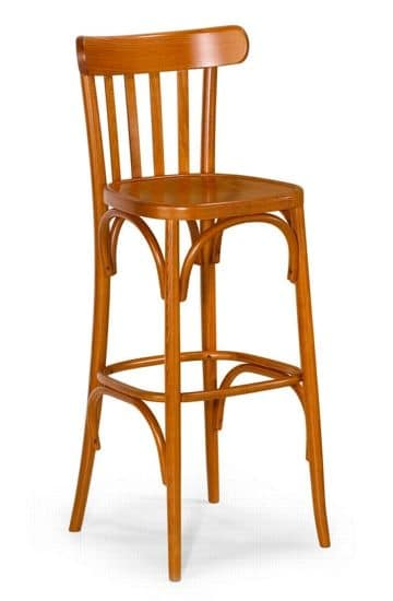 Milano barstool 4 sleds, Stool in curved wood available in various finishes