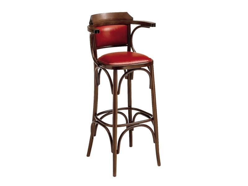 SG/600/imb, Tall stool made of curved wood for pub and bar