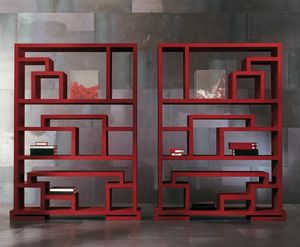4402 Labirint, Wooden two-faced bookcase, with a modern design