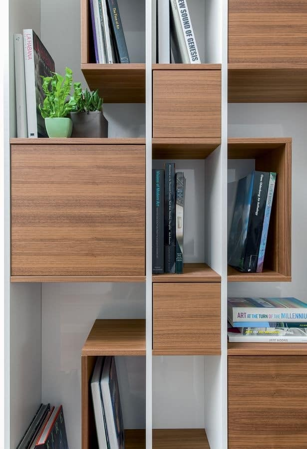ABACO, Wooden bookcase, modular, for living room