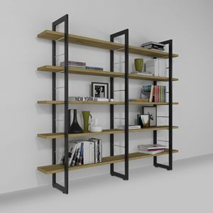 Alice, Wall-mounted bookcase in iron and wood