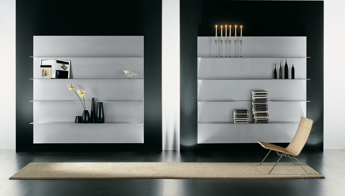 ALL comp.02, Composition of shelves for the modern home, in aluminum