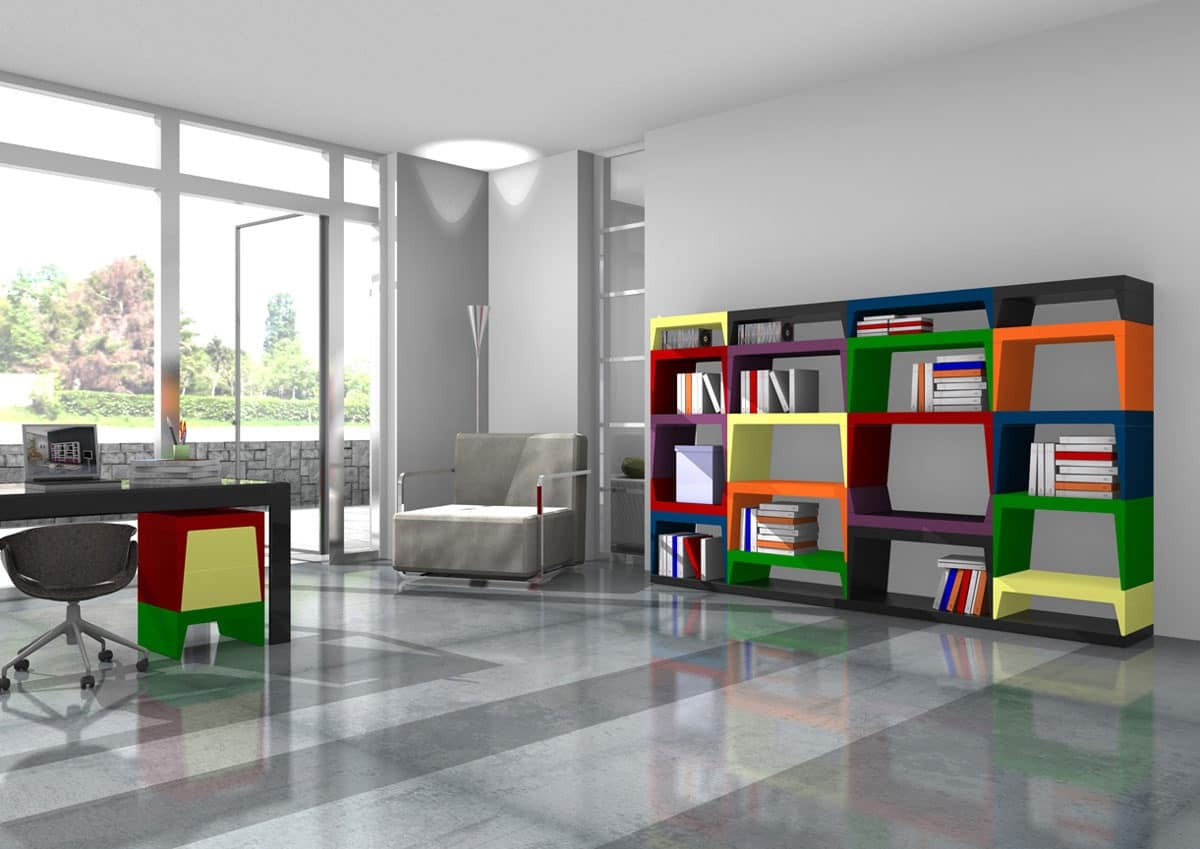 Annabelle, Modular multicolored bookcase in lacquered laminate