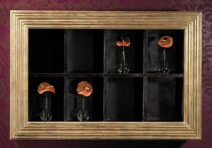 Art. 20606, Wall bookcase with frame in gold finish