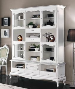 Art. 3226, White lacquered bookcase, Art Deco style