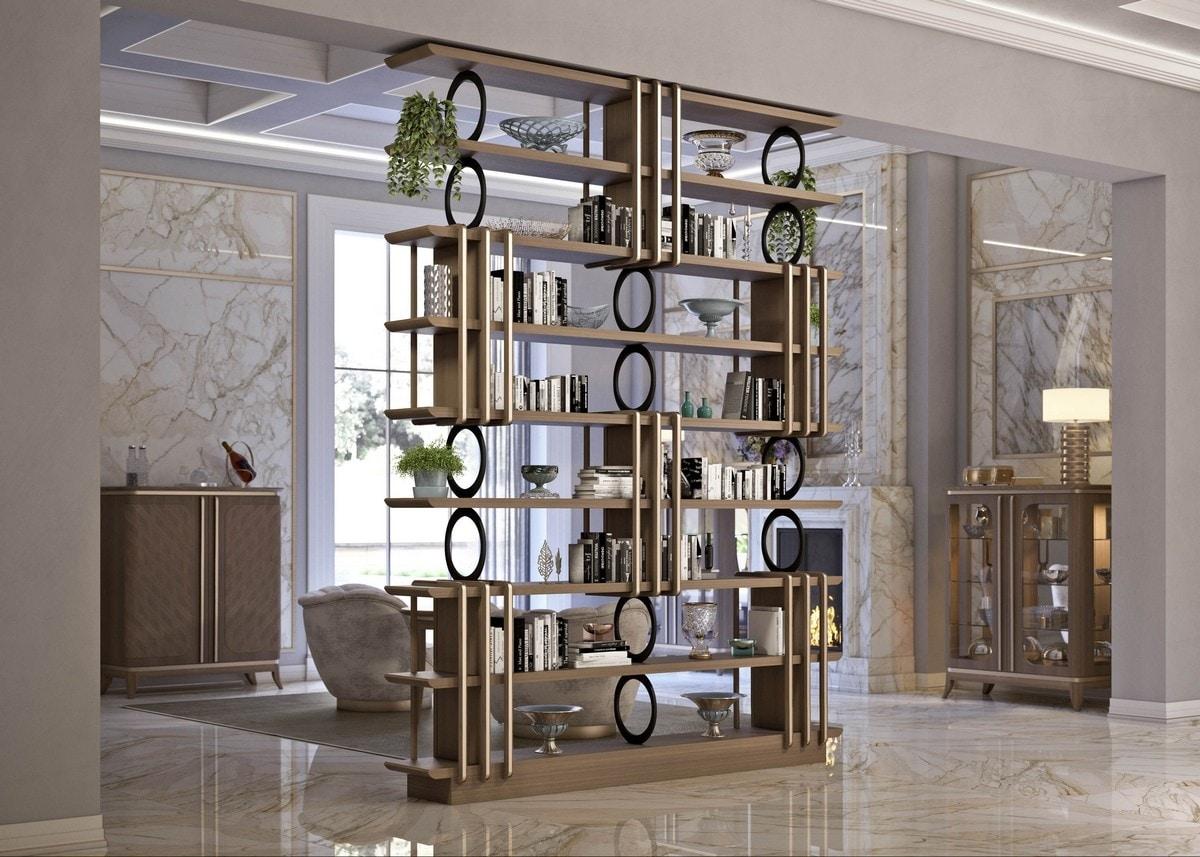 Art. 5080, Elegant bookcase in canaletto walnut