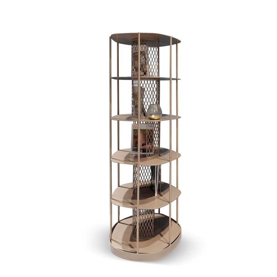 Asparagus Art. 750, Metal bookcase with oval base