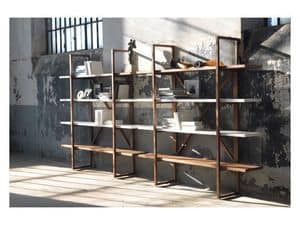 Assioma, Bookcase in solid wood, for living rooms