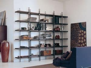 Be Bop, Bookcase in wood and metal suited for residential use