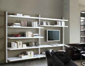 Big wall unit with floor support, Libraries shelf for offices and contract use