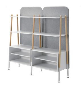 Blog, Modular bookcase, with containers and upholstered back