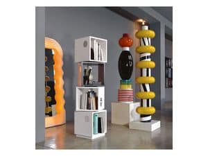 Bollicine Totem, Wooden bookcase, original shape