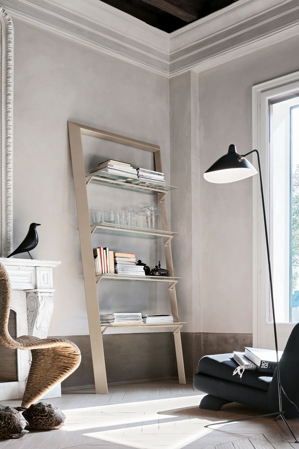 BOOK PP116 PP115, Metal bookcase with glass shelves