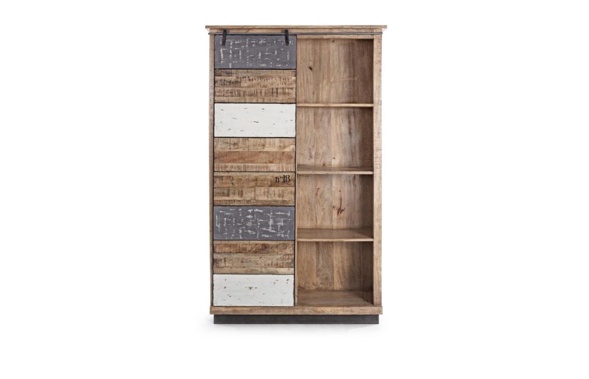 Bookcase 1A-4P Tudor L, Rustic bookcase, with sliding door