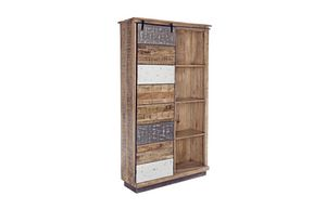 Bookcase 1A-4P Tudor L, Rustic bookcase, with sliding door