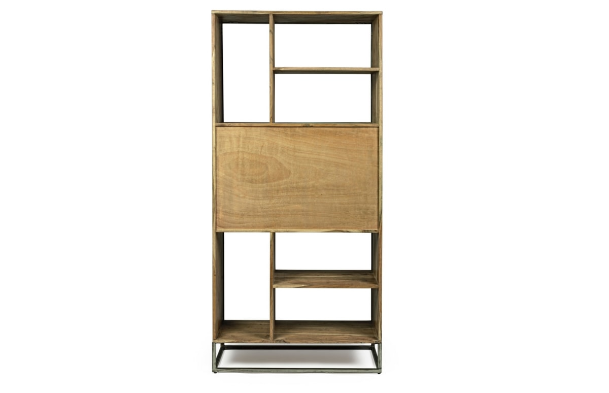 Bookcase 2A Egon, Minimal bookcase with steel structure