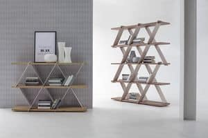 CASTLE, Bookcase with metal structure and wooden shelves