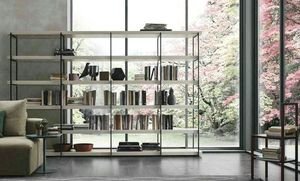 Comp. A102, Bookcase with metal structure and wooden shelves