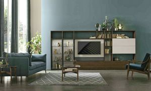 Comp. A117, Bookcase with swivel TV stand