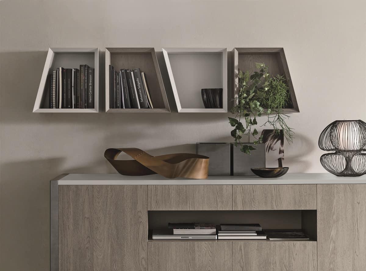CORNER PP118, Modular bookcase in laminate with oblique parts