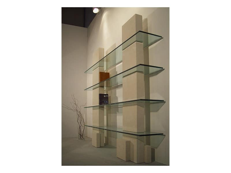 Cube bookcase, Library with stone structure and shelves in glass