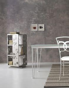 Demetra, Revolving bookcase fully in laser cut metal