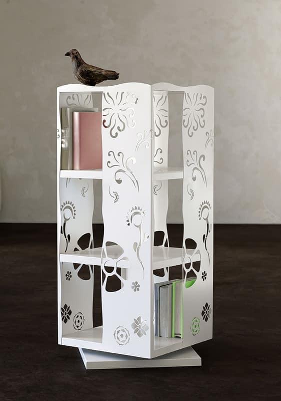Demetra, Revolving bookcase fully in laser cut metal