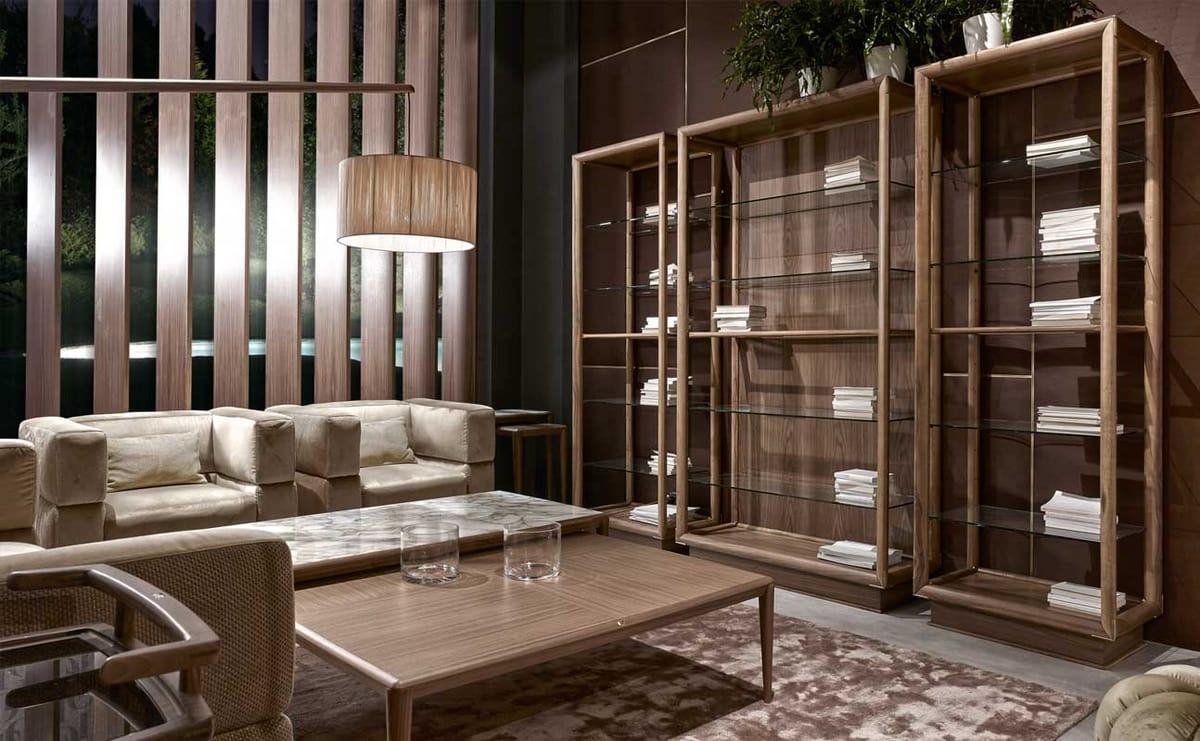 Didier column bookcase, Double-sided bookcase with glass shelves