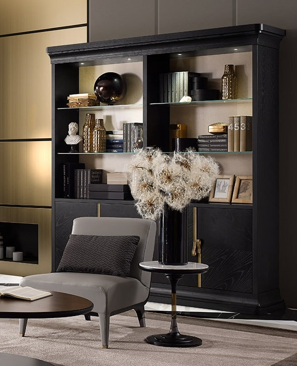 Dilan Art. D07, Wooden bookcase with glass shelves