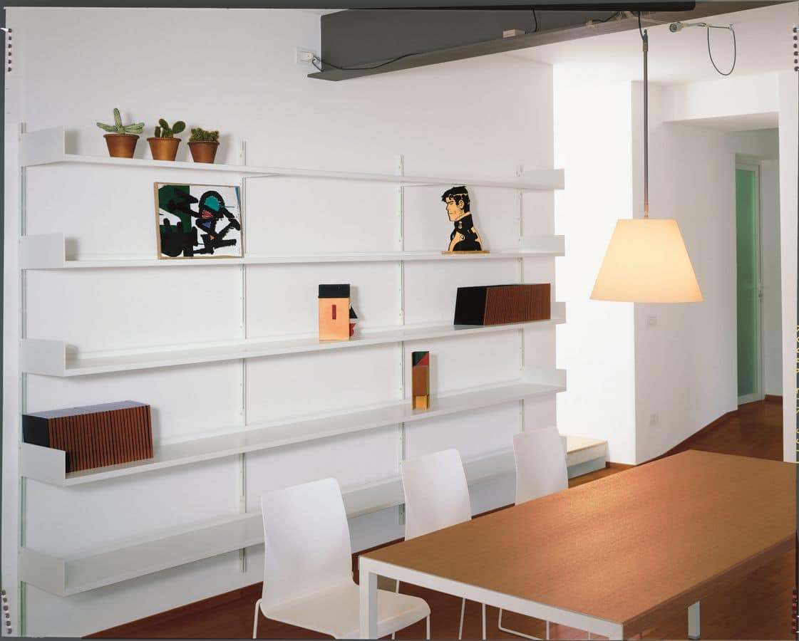 Elle System Living, Wall bookcase, modular, in lacquered metal, for livingroom