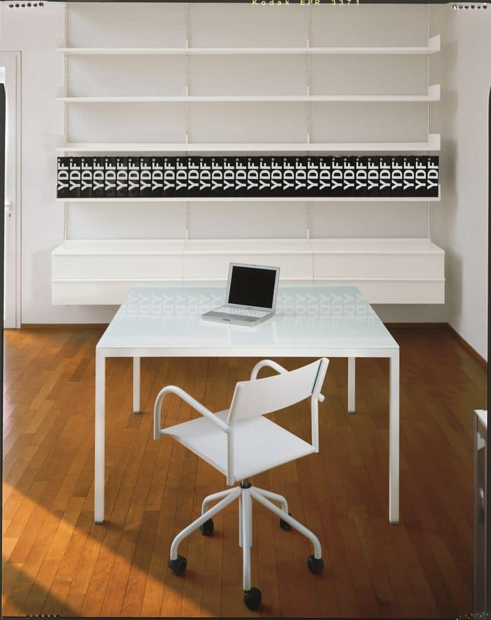 Elle System Office, Lacquered metal bookcase, modular, for libraries and offices