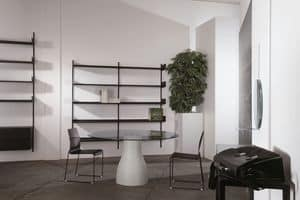 Elle System Shopfitting, Modular bookcase, in lacquered metal, suitable for pharmacies and shops