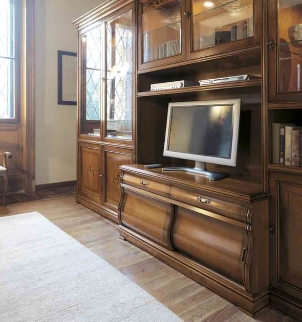 Fenice bookcase, Classic bookcase with integrated lighting