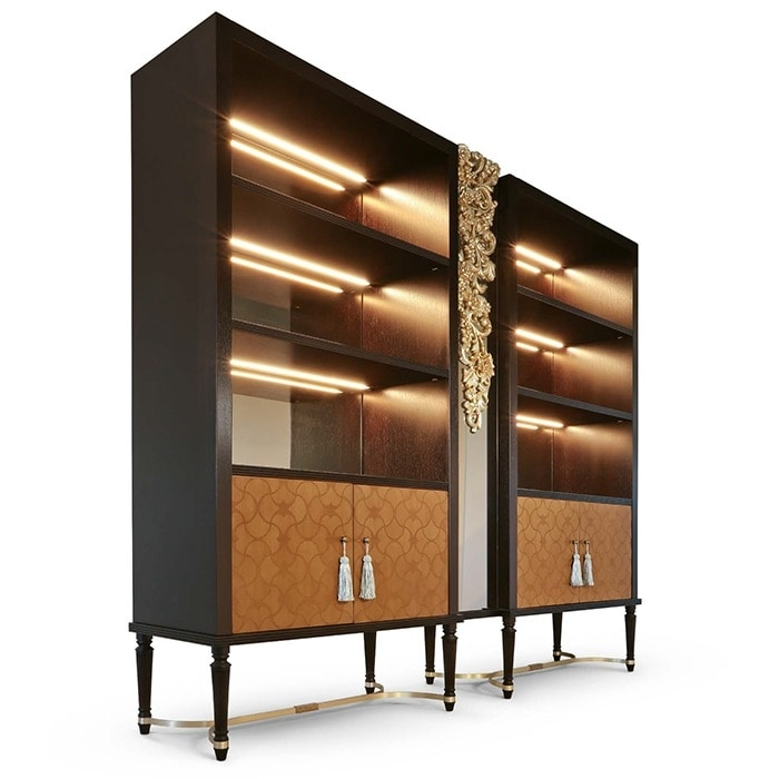 FLORA / bookcase, Bookcase with inlaid doors