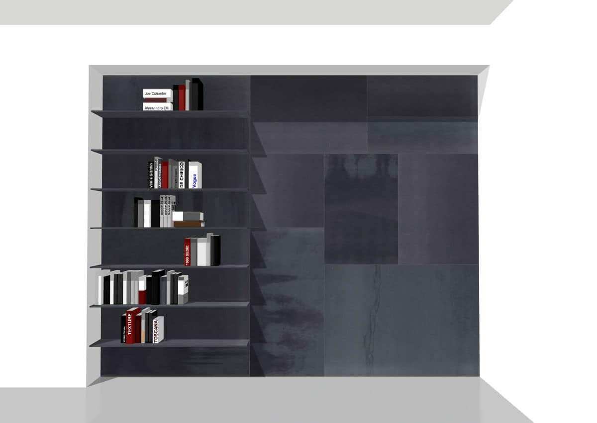 Freedom bookcase, Boiserie equipped with shelves, customizable metal bookcase