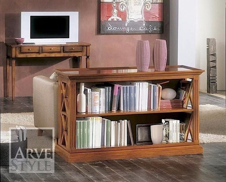 Giove bookcase, Low bookcase in solid wood