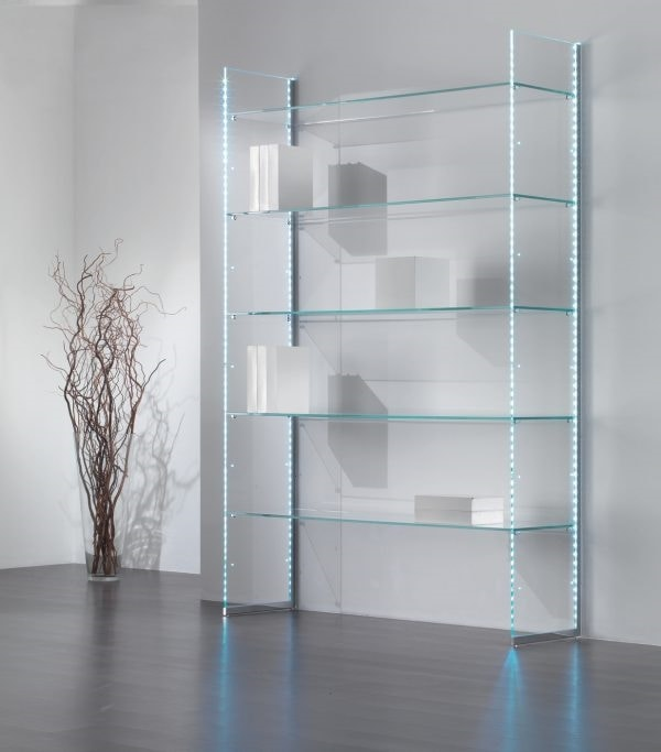 Glassystem COM/GS20, Glass bookcase, with LED strips light
