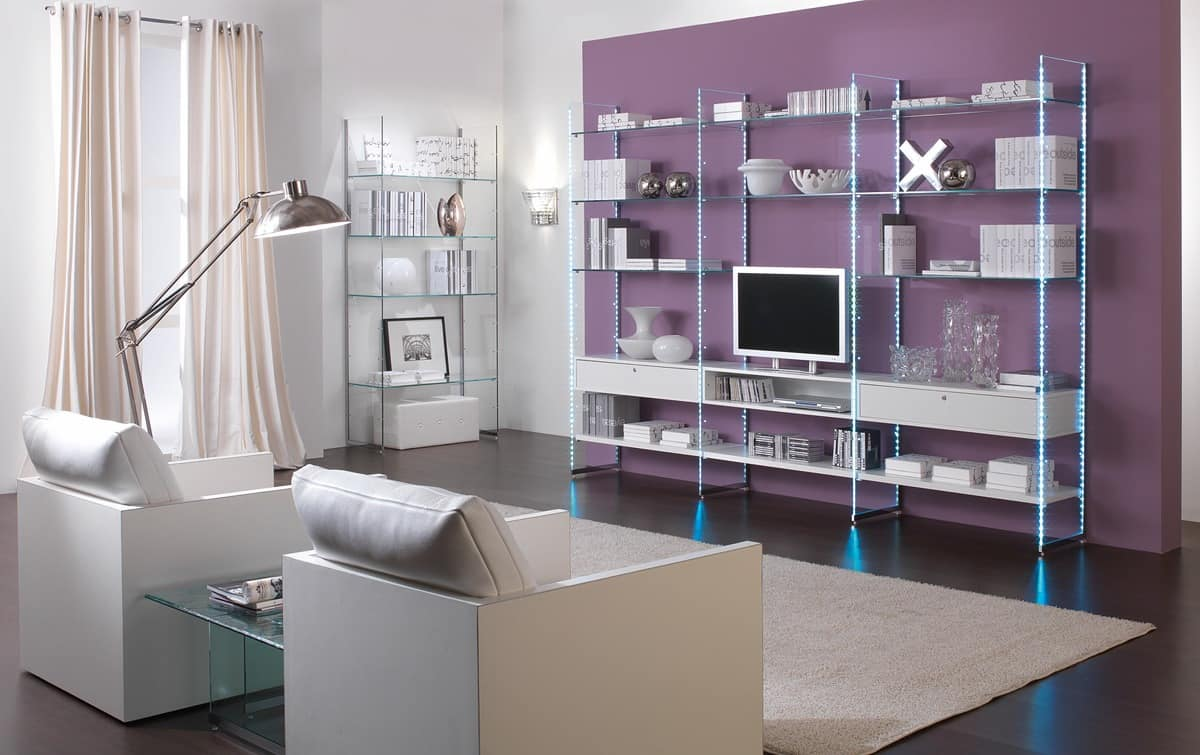 Glassystem comp.01, Linear Bookcases, living room furniture, glass structure, wooden shelves or glass shelves