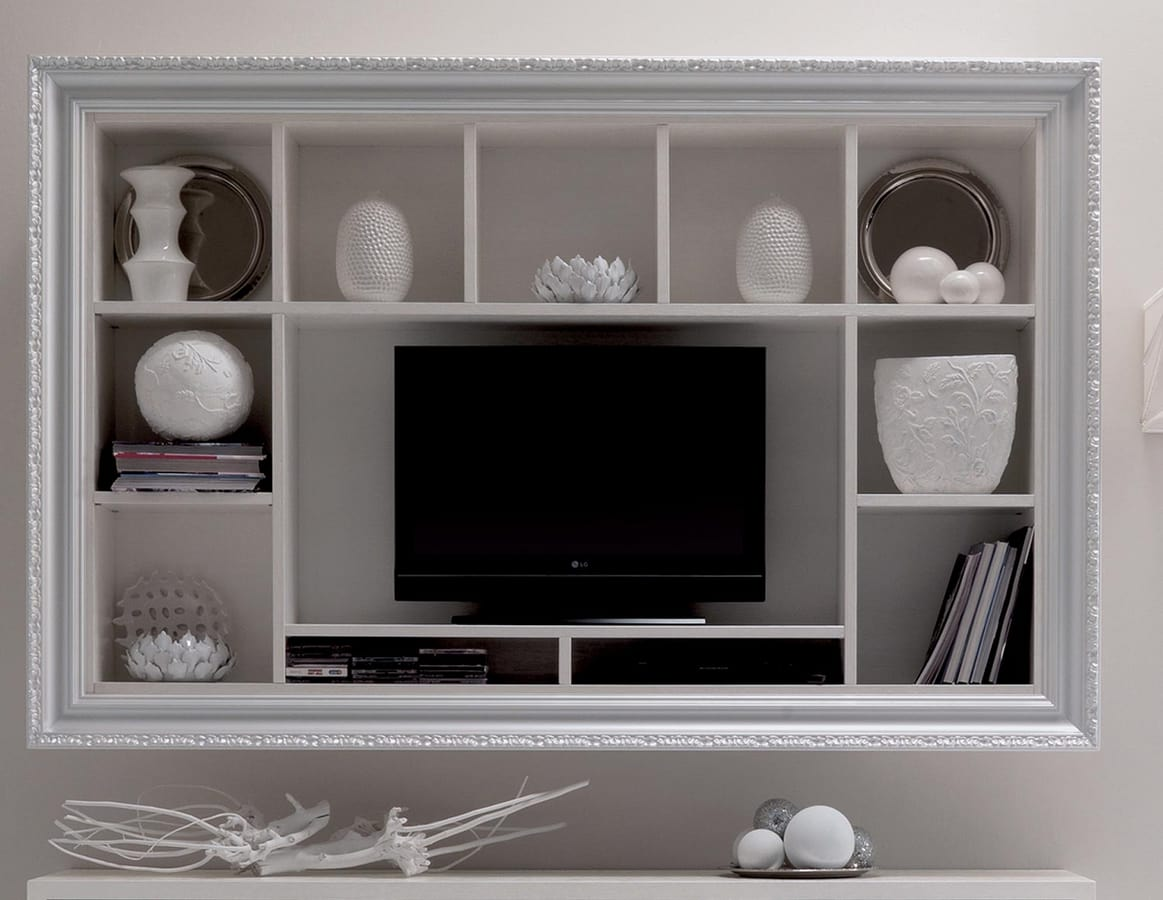 Greta Art. 574, Wall bookcase, with floral decoration on the frame